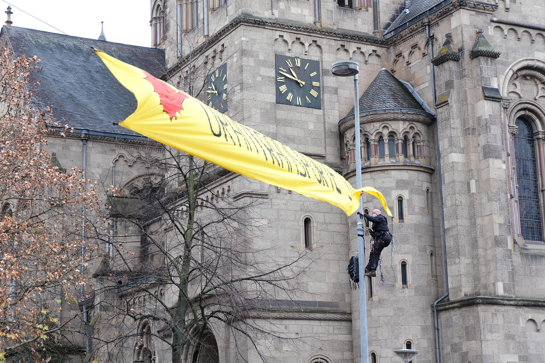 Banneraktion Koblenz Aufbau