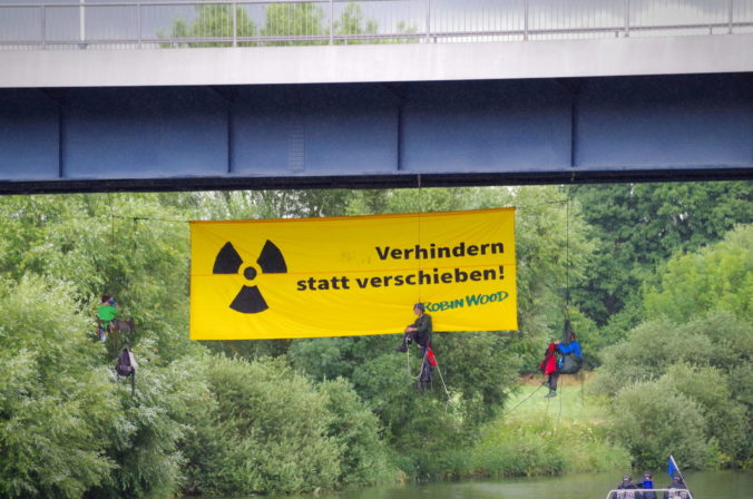 Abseilaktion gegen den Neckar Castor, Juni 2017 - Bild: T. Christensen